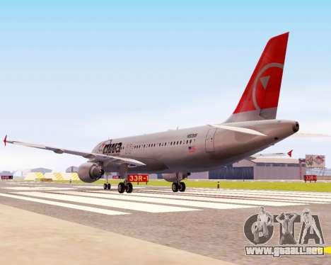 Airbus A320 NWA para GTA San Andreas vista hacia atrás