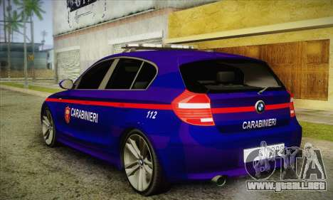 BMW 120i SE Carabinieri para GTA San Andreas vista posterior izquierda