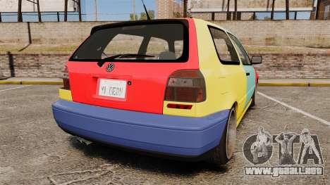 Volkswagen Golf MK3 Harlequin para GTA 4 Vista posterior izquierda