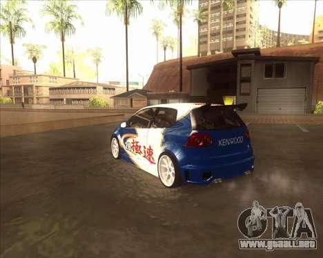 Volkswagen Golf из NFS most Wanted para GTA San Andreas vista posterior izquierda
