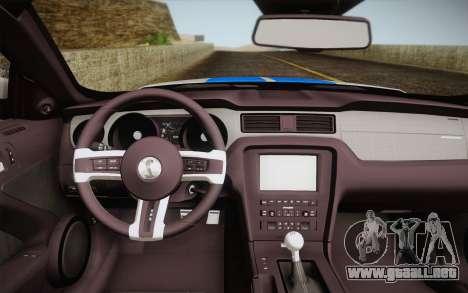 Ford Shelby GT500 2013 para GTA San Andreas vista posterior izquierda
