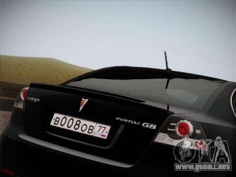 Pontiac G8 GXP 2009 para vista lateral GTA San Andreas