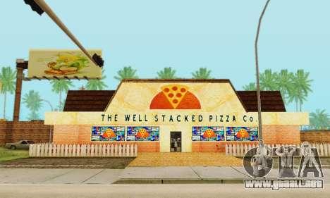 La nueva textura pizzerías y comodidades a Engañ para GTA San Andreas novena de pantalla