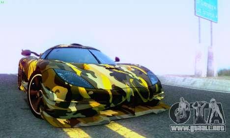 Koenigsegg One 2014 para la vista superior GTA San Andreas