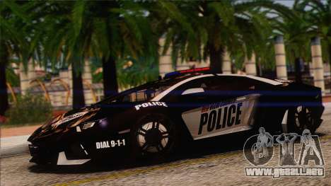 Lamborghini Aventador LP 700-4 Police para la vista superior GTA San Andreas