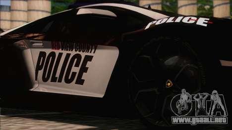 Lamborghini Aventador LP 700-4 Police para GTA San Andreas vista hacia atrás