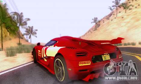 Koenigsegg One 2014 para GTA San Andreas vista hacia atrás
