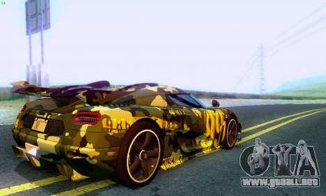 Koenigsegg One 2014 para vista lateral GTA San Andreas