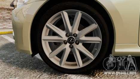 Lexus GS 300h para GTA 4 vista hacia atrás
