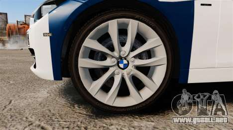 BMW F30 328i Finnish Police [ELS] para GTA 4 vista hacia atrás