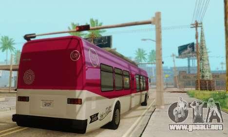 El Autobús de transporte из GTA 5 para GTA San Andreas vista hacia atrás
