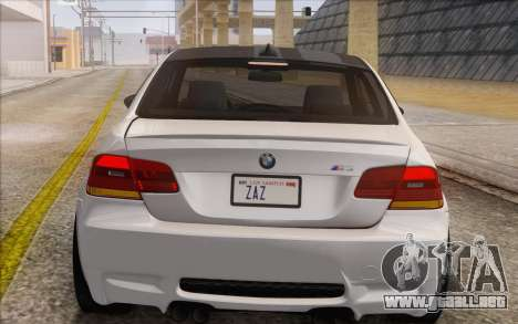 BMW M3 E92 2008 para vista lateral GTA San Andreas