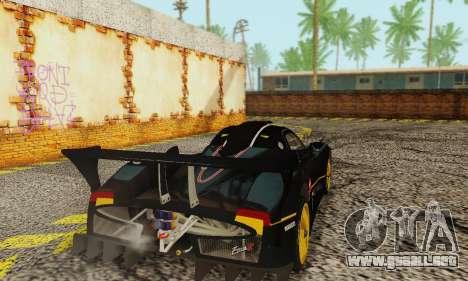 Pagani Zonda Type R Black para GTA San Andreas vista posterior izquierda
