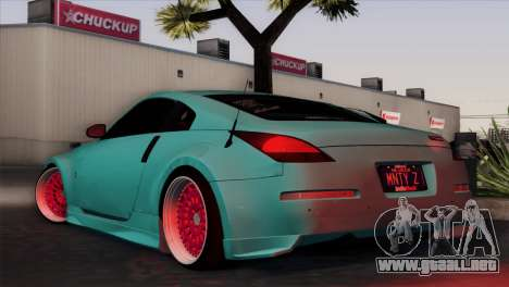 Nissan 350Z Minty Fresh para GTA San Andreas vista posterior izquierda