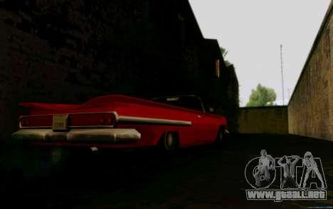 Voodoo Convertible (versión sin luces) para GTA San Andreas vista posterior izquierda