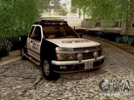 Chevrolet Colorado Sheriff para GTA San Andreas vista hacia atrás
