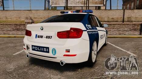 BMW F30 328i Finnish Police [ELS] para GTA 4 Vista posterior izquierda