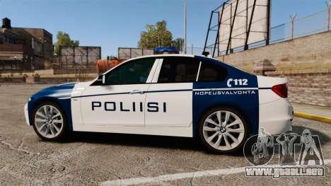 BMW F30 328i Finnish Police [ELS] para GTA 4 left