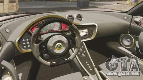 Lotus Evora GTE Mansory para GTA 4 vista interior