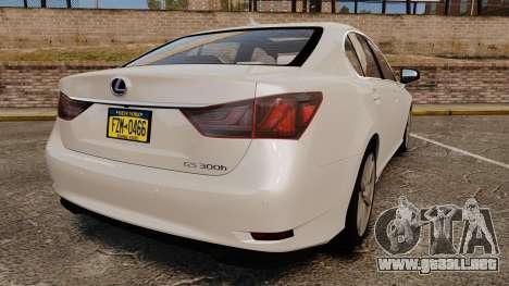 Lexus GS 300h para GTA 4 Vista posterior izquierda