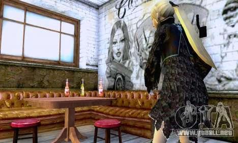 La chica rubia en ropa negra para GTA San Andreas sucesivamente de pantalla
