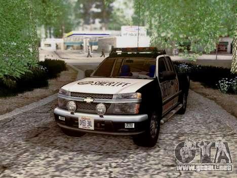 Chevrolet Colorado Sheriff para vista inferior GTA San Andreas