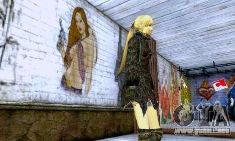 La chica rubia en ropa negra para GTA San Andreas segunda pantalla