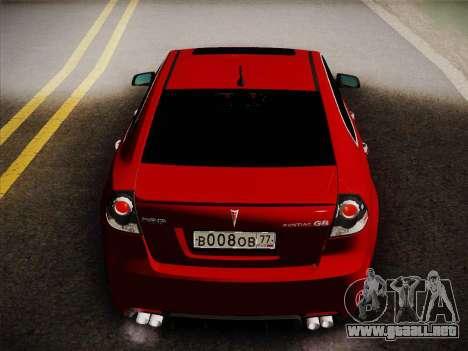 Pontiac G8 GXP 2009 para la visión correcta GTA San Andreas