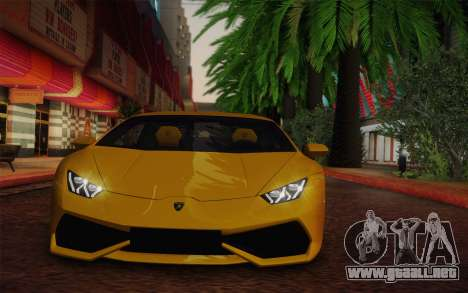 Lamborghini Huracan 2013 para GTA San Andreas vista posterior izquierda