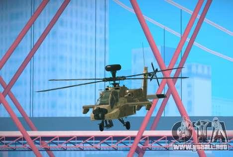 AH-64 Longbow Apache para GTA San Andreas vista posterior izquierda