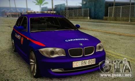BMW 120i SE Carabinieri para GTA San Andreas left