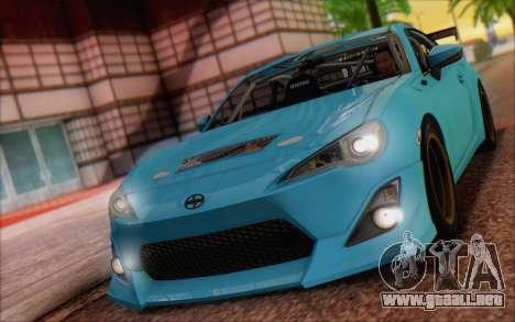 Scion FR-S 2013 Beam para GTA San Andreas vista posterior izquierda