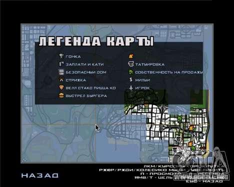 Iconos de radar de la versión móvil del juego para GTA San Andreas segunda pantalla
