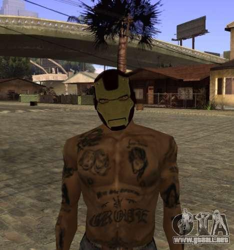 La máscara de Hierro el Hombre de CJ para GTA San Andreas sucesivamente de pantalla