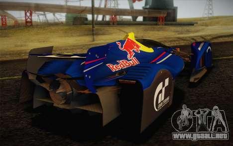 GT Red Bull X10 Sebastian Vettel para GTA San Andreas vista hacia atrás