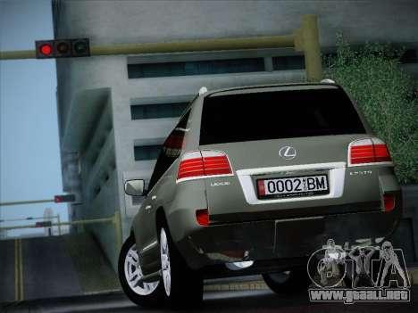 Lexus LX 570 2010 para GTA San Andreas vista posterior izquierda