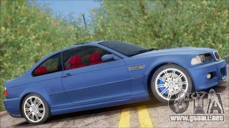 BMW M3 E46 2002 para GTA San Andreas vista posterior izquierda