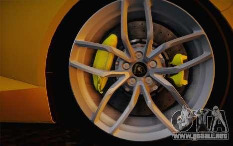 Lamborghini Huracan 2013 para GTA San Andreas vista hacia atrás