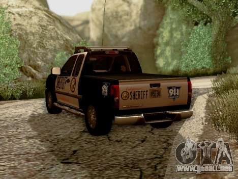 Chevrolet Colorado Sheriff para GTA San Andreas vista posterior izquierda