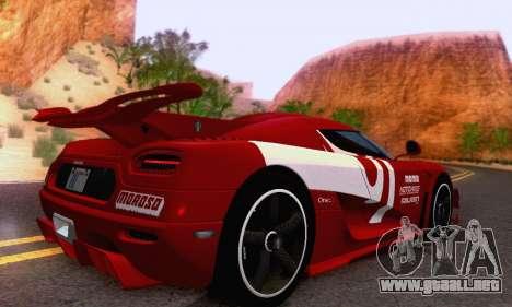 Koenigsegg One 2014 para la visión correcta GTA San Andreas