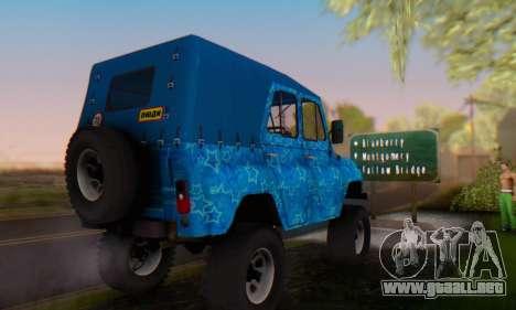 UAZ 469 Blue Star para vista lateral GTA San Andreas