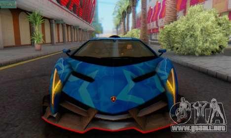 Lamborghini LP750-4 2013 Veneno Blue Star para GTA San Andreas vista posterior izquierda