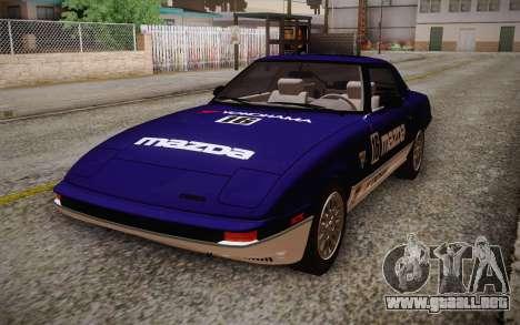 Mazda RX-7 GSL-SE 1985 IVF para vista inferior GTA San Andreas
