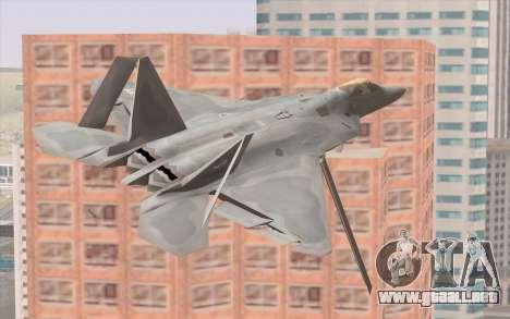 F-22 Raptor para GTA San Andreas vista hacia atrás