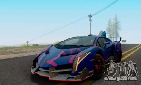 Lamborghini LP750-4 2013 Veneno Blue Star para vista inferior GTA San Andreas