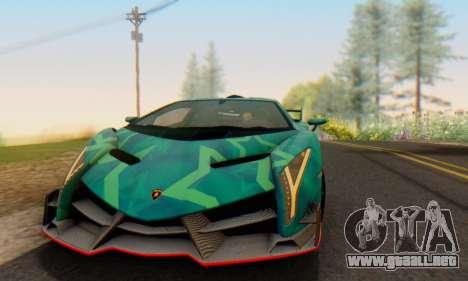 Lamborghini LP750-4 2013 Veneno Blue Star para visión interna GTA San Andreas