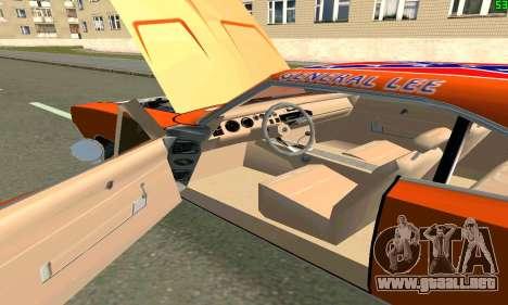 Dodge Charger General lee para GTA San Andreas vista posterior izquierda