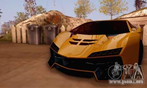 Pegassi Zentorno GTA 5 v2 para GTA San Andreas vista hacia atrás