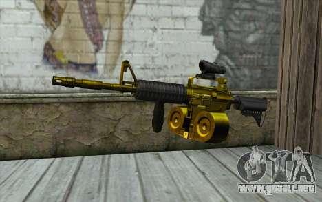 Golden M4 con una tienda para GTA San Andreas