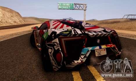 W-Motors Lykan Hypersport 2013 Stiker Editions para GTA San Andreas vista posterior izquierda